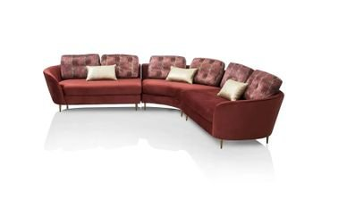 Pyrope Sectional Sofa, 5 Seats, Maroon/ Gold