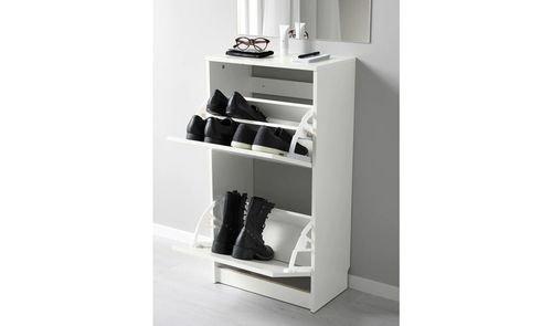 خزانة أحذية بيسا من أيكيا، مقصورتان، لون ابيض