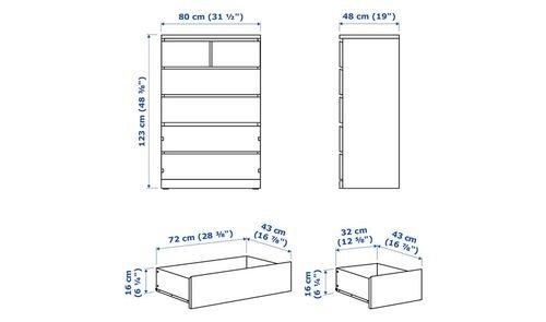 خزانة مالم 6 أدراج من أيكيا،خشب مضغوط، أبيض