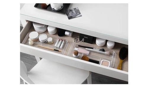 طاولة زينة مالم من أيكيا، سطح زجاج، أبيض
