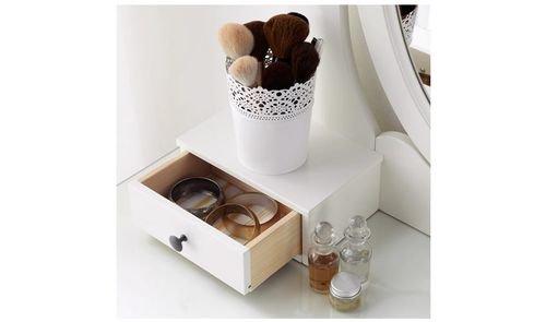 طاولة زينة هيمنيس مع مرآة من أيكيا، سطح زجاج، أبيض