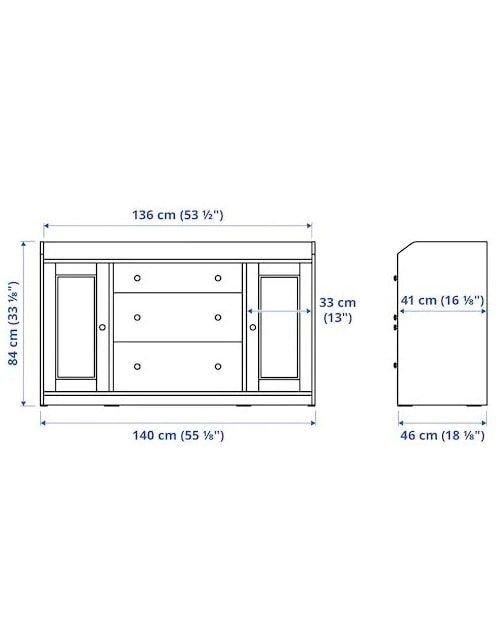 خزانة جانبية هاوجا من إيكيا، 84 × 140 سم، 3 دروج، وحدتين رفوف، رمادي