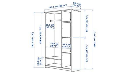 خزانة ملابس بريمنيس من أيكيا، 3 أبواب، أبيض