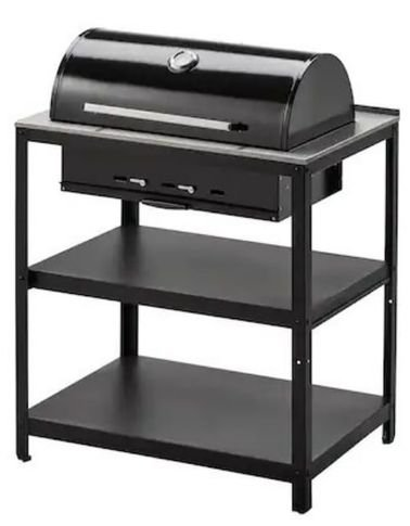 Ikea outdoor barbecue charcoal grill, stainless steel, black