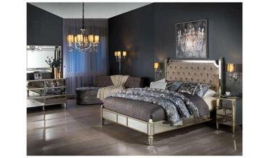 TAYLOR BURTON Bedroom Set, King Size Bed, 5 Pieces, Glass Mirror/ Beige