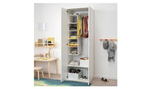 خزانة ملابس أطفال GODISHUS من أيكيا، بابين، أبيض