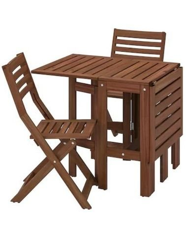 Outdoor set table and 2 chairs wood from IKEA, foldable, Brown