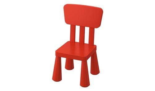 كرسي أطفال MAMMUT من أيكيا، داخلي/ خارجي، أحمر