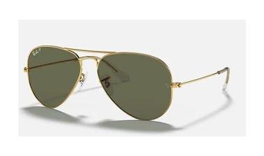 Ray-Ban Aviator Classic Sunglasses, Unisex, Gold Frame, Green Lens