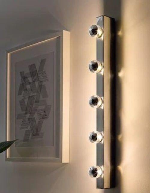 مصباح حائط موزيك من إيكيا، مطلي بالكروم، سلك داخلي