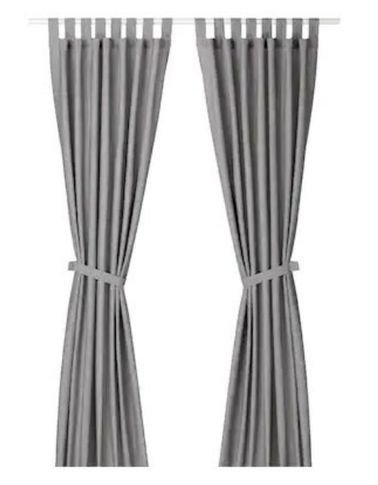 Linda Cotton Curtains by IKEA , Two Pieces Sides, Gray