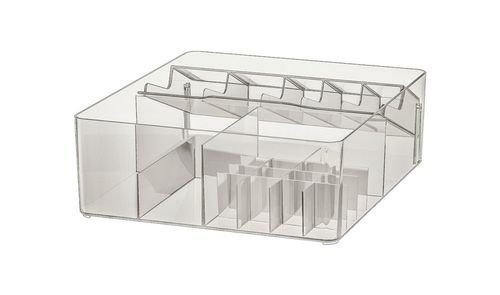 صندوق بحجيرات للحمام من أيكيا، بلاستيك، لون دخاني
