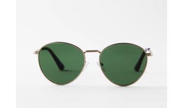 نظارة شمسية نسائية من زارا، إطار ذهبي، عدسات خضر