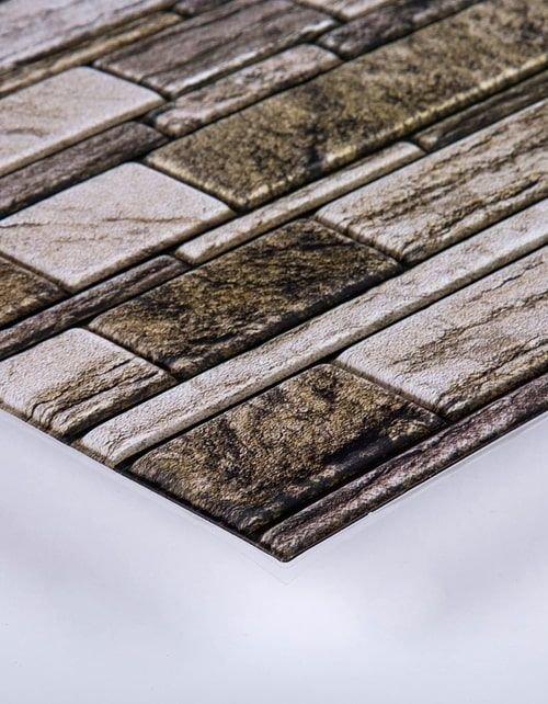 بلاط حائط قابل للإزالة واللصق ثلاثي الأبعاد من سي تي جي، 30 × 30 سم، 6 قطع، بيج