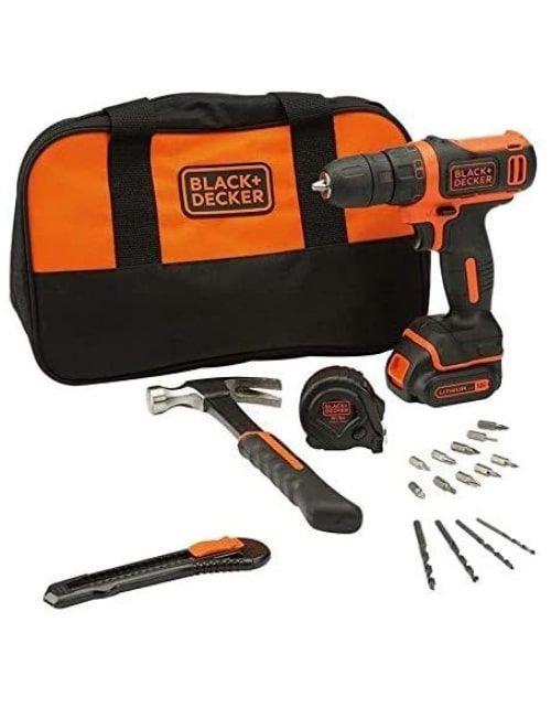 دريل بلاك أند ديكر، دون أسلك، بطارية 10.8 فولت، مع حقيبة ومجموعة أدوات