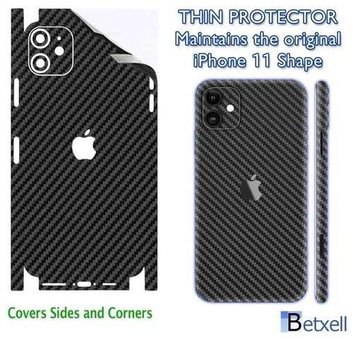 ملصق حماية لآيفون 11، ألياف الكربون، لون أسود