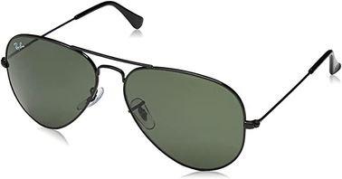نظارات شمسية راي بان أفياتور كلاسيك RB3025، مستقطبة، إطار أسود، عدسات خضر