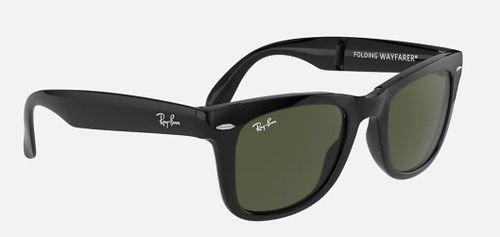 نظارات شمسية راي بان وايفارير، قابلة للطي، إطار أسود لامع، عدسات خضر