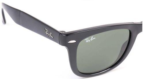 نظارات شمسية راي بان وايفارير، قابلة للطي، أسود غير لامع، عدسات خضر