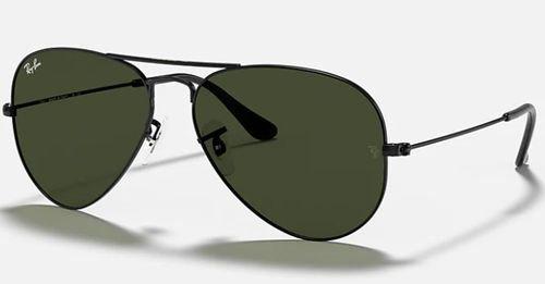 نظارات شمسية راي بان أفياتور كلاسيك RB3025، للجنسين، إطار أسود، عدسات خضر