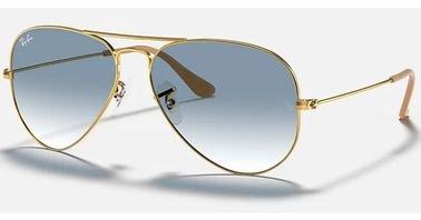 Ray-Ban Aviator Gradient Sunglasses, Gold Frame, Light Blue Lens