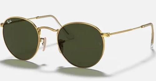 نظارة ريبان شمسية مستديرة 50 ملم، إطار ذهبي، عدسات خضر