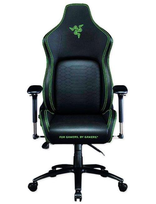 كرسي ألعاب ريزر Iskur، جلد صناعي، أسود وأخضر