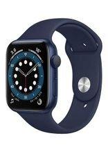 ساعة آبل 6 الذكية 44 ملم، شاشة 1.7 بوصة، GPS، هيكل ألمنيوم أزرق، سوار رياضي أزرق