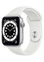 ساعة آبل 6 الذكية 44 ملم، شاشة 1.7 بوصة، GPS، هيكل ألمنيوم فضي، سوار رياضي أبيض