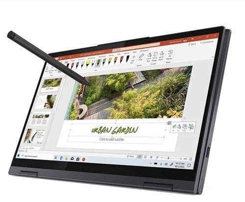 نوت بوك لينوفو يوجا 7i، شاشة لمس 14 بوصة، كور آي 7، رام 16GB، تخزين 1TB، رمادي غامق