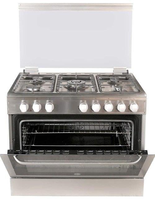 طباخ غاز وفرن من هووفر، 90 × 60 سم، 5 شعلات، ستانلس ستيل