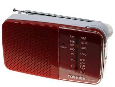 راديو محمول توشيبا TX-PR20، يدعم موجات AM/FM، لون أحمر
