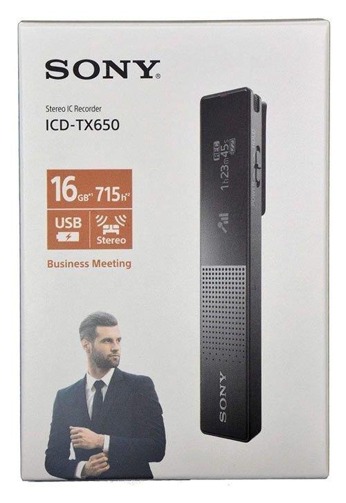 مسجل صوت محمول سوني TX650، سعة 16 جيجابايت، لون أسود