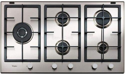 طباخ غاز مسطح ومدمج من ويرلبول، 90 سم، 5 شعلات، فضي