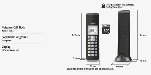هاتف أرضي لاسلكي باناسونيك TGK210، شاشة ال سي دي 1.5 بوصة، قاعدة عمودية، أسود