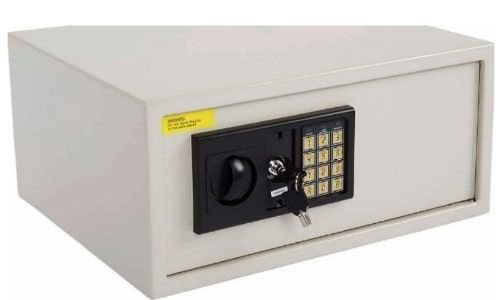 خزانة إلكترونية ماهماي، 7 كغ، قفل رقمي مع مفتاح رئيسي، رمادي