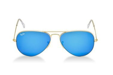 Ray-Ban Aviator Classic Sunglasses, Unisex, Gold Frame, Blue Lens