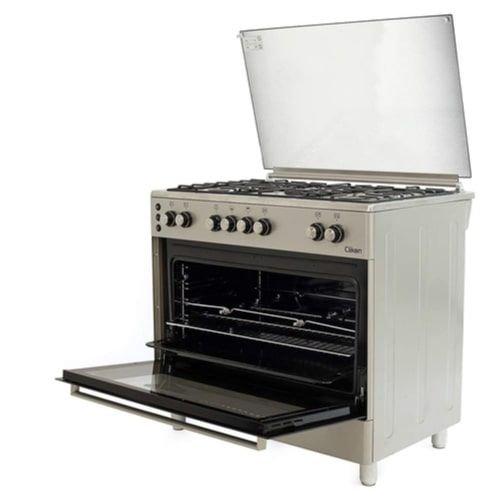 طباخ غاز وفرن من كليكون مع شواية، 90 × 60 سم، 5 شعلات، ستانلس ستيل