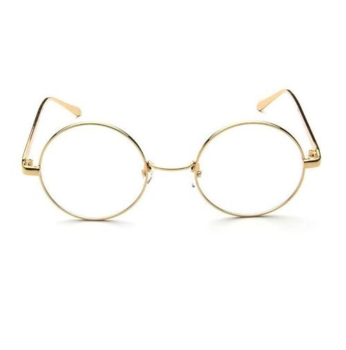 Round Eyeglasses Frame, 500 mm Size, Gold Metal Frame