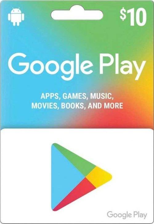 بطاقة جوجل بلاي 10 دولار أمريكي، المتجر الأمريكي، كود رقمي