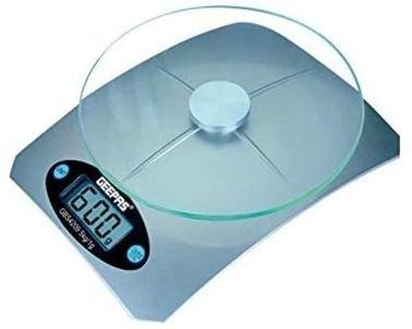 ميزان مطبخ رقمي من جيباس، 5 كغ، شاشة LCD، منصة زجاجية 4 ملم