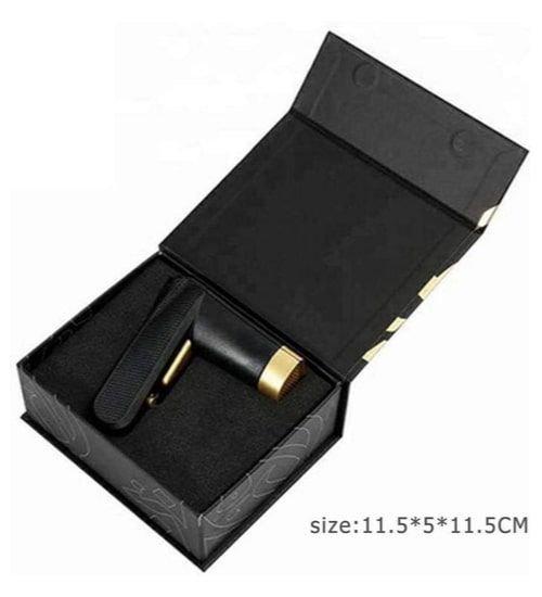 مبخرة كهربائية محمولة من بخور، يو إس بي، قابلة للشحن، لون أسود ذهبي