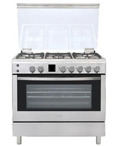 طباخ فرن مع غاز من إل جي مع مشواة، 90 × 60 سم، 5 شعلات، فضي