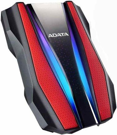 ADATA External HDD, 1TB, USB 3, RGB Lights, Red