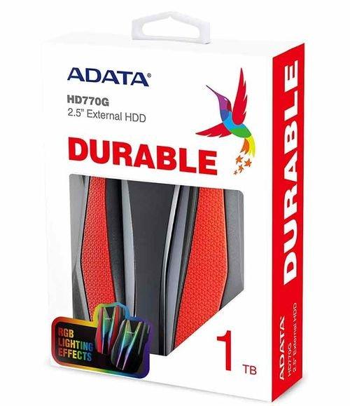 هارد خارجي ADATA، سعة 1TB، يو إس بي 3، أضواء RGBـ لون أحمر