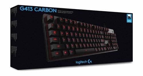 لوحة مفاتيح لوجيتك G413، مفاتيح ميكانيكية، إضاءة خلفية، لون أسود