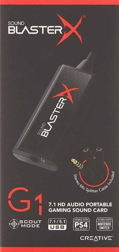 كرت صوت خارجي كرييتف ساوند بلاستر إكس G1ـ يو إس بي، صوت محيطي 7.1، أسود
