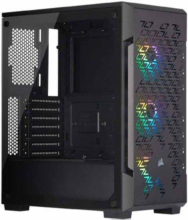 صندوق كمبيوتر كورسير iCUE 220T، أضواء RGB، غطاء زجاج، 3 مراوح، لون أسود