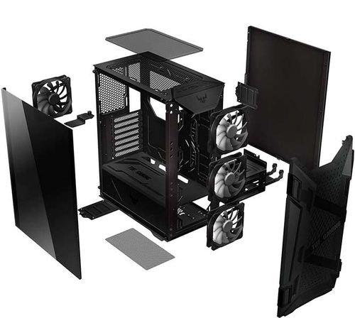 صندوق كمبيوتر أسوس TUF GT301، غطاء زجاج، 4 مراوح، أضواء RGB، لون أسود