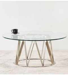 طاولة قهوة بسطح زجاجي من فيكتور، أرجل معدنية، فضي
